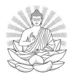 Buddha sitting on Lotus with beam of light vector