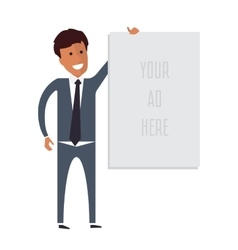 Business man holding banner with place for vector