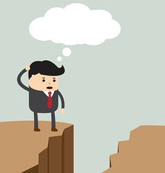 Businessman standing on the cliff and looking for vector