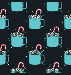 christmas pattern holiday seamless with cacao mug vector image