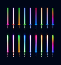 collection of colorful isolated glowing sabers vector image