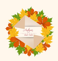 Colorful autumn leaves on a old paper retro vector image