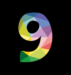 colorful number 9 isolated on black background vector image
