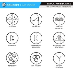 Concept line icons set 13 math vector