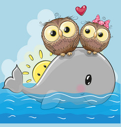 Cute cartoon owls are sitting on the whale vector
