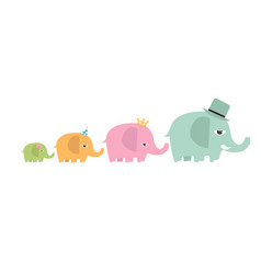 cute family elephants cartoon set vector image