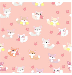cute fox seamless pattern pink background vector image