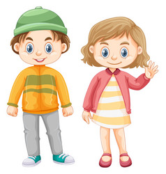 Cute girl and boy in winter clothes vector