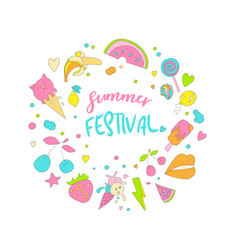 Cute girl teenager colored summer icon sticker vector