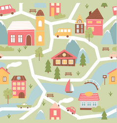 cute town or village houses childish seamless vector image