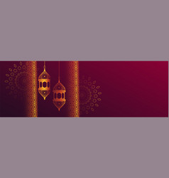Decorative islamic banner with hanging lantern vector