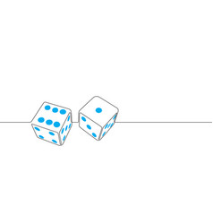 dice continuous line graphic vector image