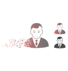 Disintegrating pixel halftone manager icon vector
