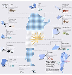 Dot And Flag Map Of Argentina Infographic Design vector image