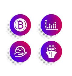dot plot safe time and bitcoin icons set ship vector image