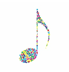 Dotted colorful music note vector