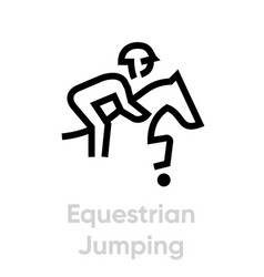 equestrian jumping sport icons vector image