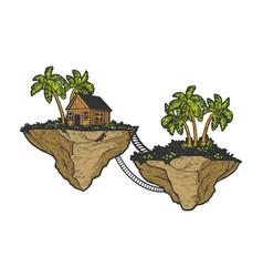 fabulous flying islands sketch vector image