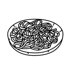 fettuccine alfredo icon doodle hand drawn or vector image