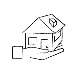 figure hand with house architecture design icon vector image