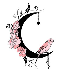 floral frame with bird and rose vector image