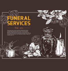 funeral service hand drawn design poster vector image