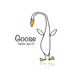 funny goose sketch for your design vector image