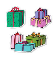 gift boxes cartoon stickers set presents isolated vector image