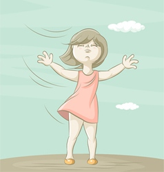 girl and wind vector image