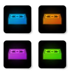 Glowing neon stacks paper money cash icon vector