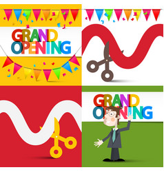 Grand opening flat design set with colorful flags vector