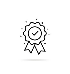 Guarantee or medal thin line icon vector
