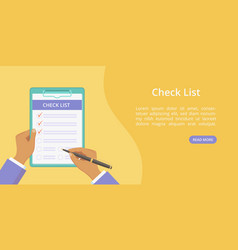 hands with clipboard check list web page template vector image