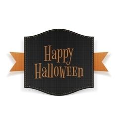 Happy Halloween black Banner on orange Ribbon vector image