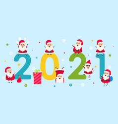 happy new year 2021 collection characters santa vector image