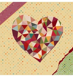 Heart made from triangles on polka dot vector image