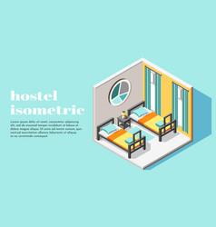 Hostel room isometric background vector