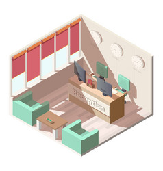 hotel reception hall interior isometric vector image