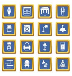 interior furniture icons set blue square vector image