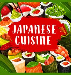 Japanese cuisine sushi chopsticks and sauce vector