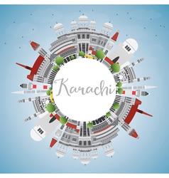 Karachi Skyline with Gray Landmarks Blue Sky vector