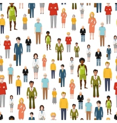 Large group of flat cartoon people seamless vector image vector image