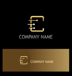 letter c technology gold logo vector image