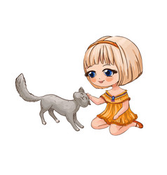 Little chibi girl stroking a cat cute anime vector