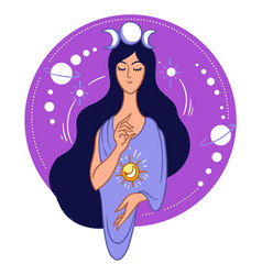 magic and occult woman with moon and sun symbol vector image