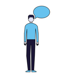 man speech bubble talk white background vector image