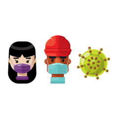 medical professionals and a virus icon set 4 vector image