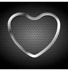 Metallic heart on perforated background vector