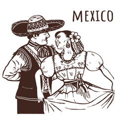 mexican nationality is a woman and a man vector image