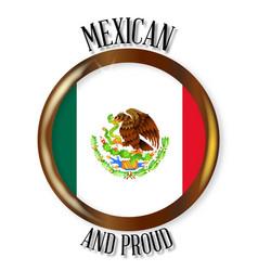 mexico proud flag button vector image
